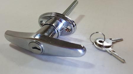 T Handle Door Latch, Stainless Steel- Locking w/ Key