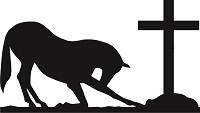 "Horse At The Cross-Reflective Decal, 10"", in WHITE ONLY"