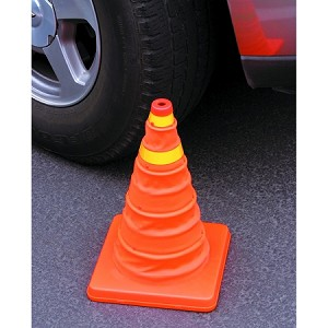 Safety Cone: Orange, Reflective, Collapsible