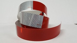 "SALE! Red & White Reflective Tape- *Sold by the 18"" Section"